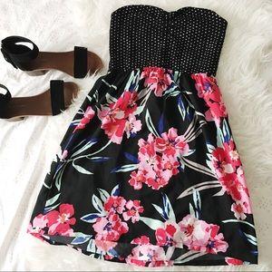 Roxy Floral & Polkadot Strapless Mini Dress